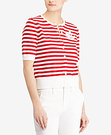 Lauren Ralph Lauren Striped Cotton Elbow-Sleeve Cardigan