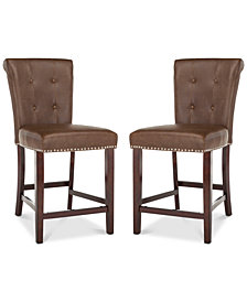 Oston Faux Leather Counter Stool (Set Of 2), Quick Ship