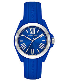 Michael Kors Women's Bradshaw Blue Silicone Strap Watch 38mm