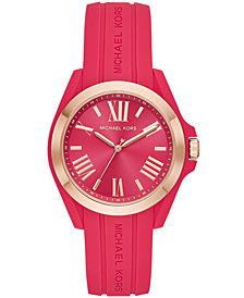 Michael Kors Women's Bradshaw Pink Silicone Strap Watch 38mm