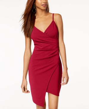 ALMOST FAMOUS Juniors' Sleeveless Faux-Wrap Dress in Red