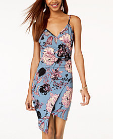Almost Famous Juniors' Floral-Print Faux-Wrap Dress