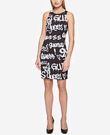 GUESS Printed Illusion-Stripe Sheath Dress