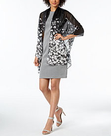 Calvin Klein Liquid-Metallic Floral Evening Wrap