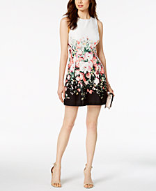 Jessica Howard Petite Floral Colorblocked Dress