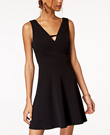 City Studios Juniors' Keyhole-Neck Fit & Flare Dress