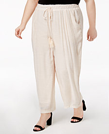 John Paul Richard Plus Size Crochet-Trim Lined Soft Pants