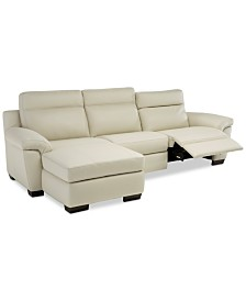 Julius II 3-Pc. Leather Sectional Sofa With 1 Power Recliner, Power Headrests, Chaise And USB Power Outlet