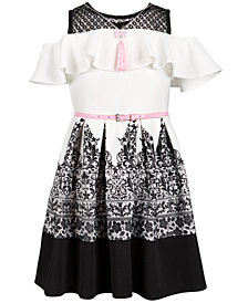 Beautees Big Girls 2-Pc. Cold Shoulder Skater Dress & Necklace Set