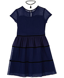 BCX Big Girls 2-Pc. Illusion-Neck Swiss Dot Dress & Necklace Set