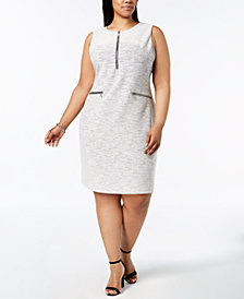 Calvin Klein Plus Size Line-Detail Shift Dress