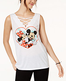 Love Tribe Juniors' Disney Mickey & Minnie Mouse Graphic Tank Top