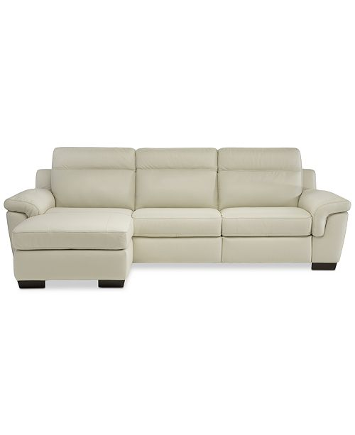 Leather Sectional Sofa With 3 Power Recliners: Furniture Julius II 3-Pc. Leather Chaise Sectional Sofa
