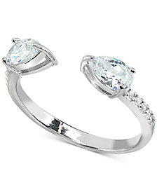 Giani Bernini Cubic Zirconia Stackable Pear Cuff Ring in Sterling Silver, Created for Macy's