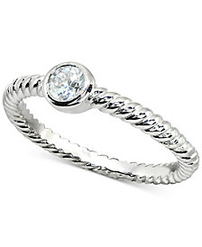 Giani Bernini Cubic Zirconia Stackable Bezel Twisted Ring in Sterling Silver, Created for Macy's