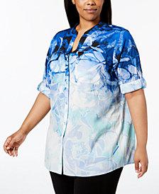Calvin Klein Plus Size Palm-Print Utility Tunic Shirt