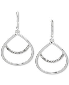 Anne Klein Pavé Drop Hoop Earrings