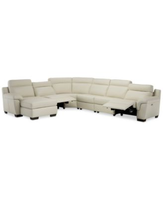 Julius II 6 Pc. Leather Chaise Sectional Sofa With 2 Power Recliners, Power  Headrests U0026 USB Power Outlet, Created For Macyu0027s
