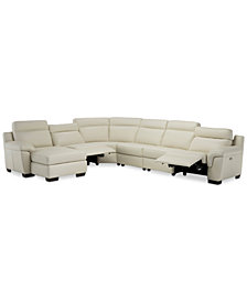 Julius II 6-Pc. Leather Chaise Sectional Sofa With 2 Power Recliners, Power Headrests & USB Power Outlet, Created for Macy's