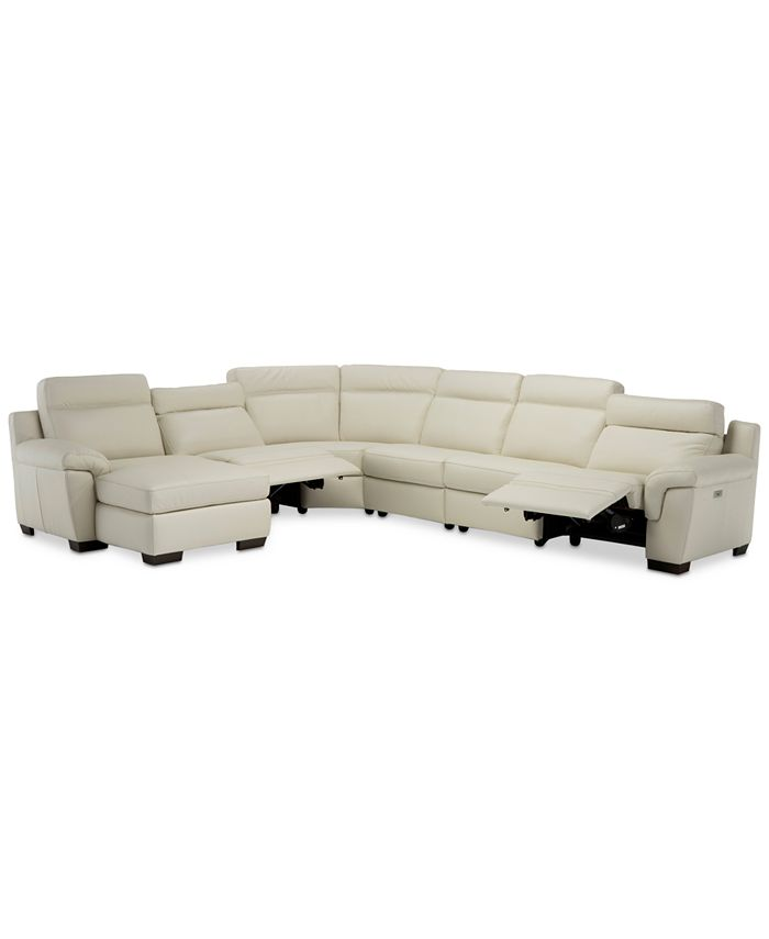 """Furniture - Julius 150"""" II 6-Pc. Leather Chaise Sectional Sofa With 2 Power Recliners, Power Headrests & USB Power Outlet, Created for Macy's"""