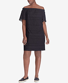 Lauren Ralph Lauren Plus Size Off-The-Shoulder Cotton Dress