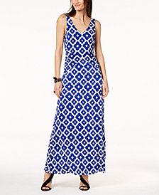 I.N.C. Printed V-Back Maxi Dress, Created for Macy's