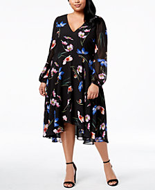 Betsey Johnson Plus Size V-Neck Floral Midi Dress