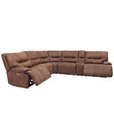 Felyx 6-Pc. Fabric Sectional Sectional Sofa With 2 Power Recliners, Power Headrests, Console And USB Power Outlet