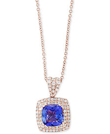 "Final Call by EFFY® Tazanite (2-1/4 ct. t.w.) & Diamond (3/8 ct. t.w.) 18"" Pendant Necklace in 14k Rose Gold"