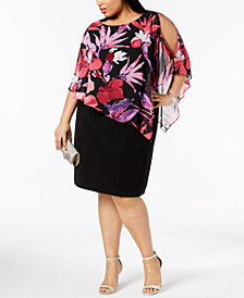 Connected Plus Size Asymmetrical-Overlay A-Line Dress