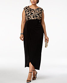 Connected Plus Size Soutache Draped Gown
