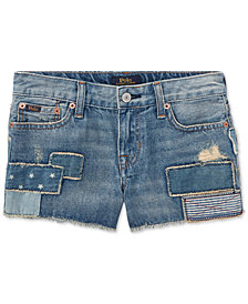 Polo Ralph Lauren Little Girls Cotton Patchwork Denim Shorts
