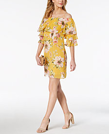 Vince Camuto Printed Off-The-Shoulder Flounce Dress