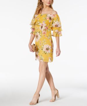 Vince Camuto Printed Off-The-Shoulder Flounce Dress 6059403