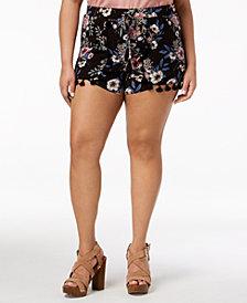 Planet Gold Trendy Plus Size Tassel-Trim Wrap Shorts