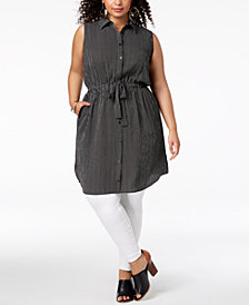 Monteau Trendy Plus Size Striped Shirtdress