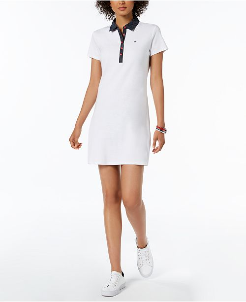 2a5be7b5c8de5 ... Tommy Hilfiger Cotton Polka-Dot Collar Polo Dress