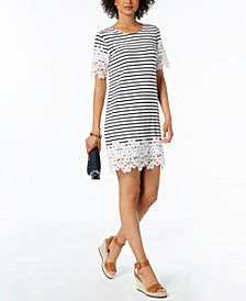Tommy Hilfiger Striped Lace-Trim Sheath Dress, Created for Macy's