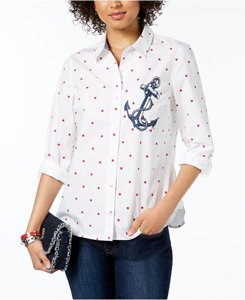 3ea89d6ef ... Tommy Hilfiger Star-Print Anchor-Graphic Shirt, Created for Macy's ...