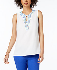 Tommy Hilfiger Embroidered V-Neck Top, Created for Macy's