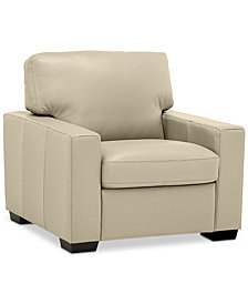 "Ennia 36"" Leather Armchair, Created for Macy's"