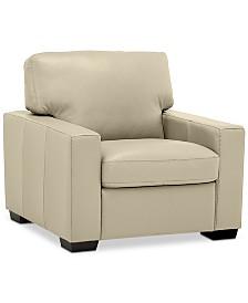 """Ennia 36"""" Leather Armchair, Created for Macy's"""
