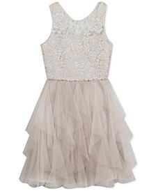 Big Girls Embroidered Cascading Ruffle Dress