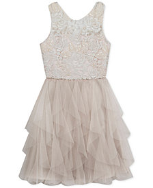 Rare Editions Big Girls Embroidered Cascading Ruffle Dress