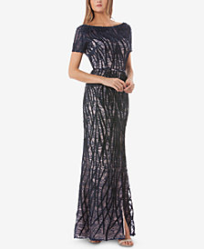 JS Collections Embroidered Lace Gown