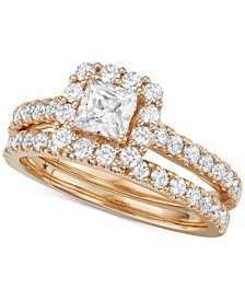 Macy's Star Signature Diamond™ Princess Cut Halo Bridal Set (1-1/2 ct. t.w.) in 14k White or Yellow Gold