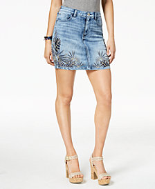 GUESS Juniors' Embroidered Denim Skirt
