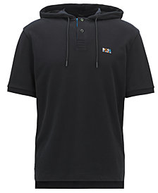 BOSS Men's Relaxed-Fit Hooded Cotton Piqué Polo Shirt