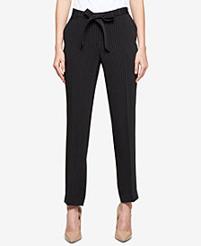 Tommy Hilfiger Pinstriped Belted Skinny Ankle Pants