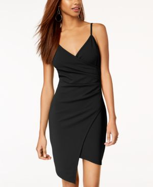 ALMOST FAMOUS Juniors' Sleeveless Faux-Wrap Dress in Black